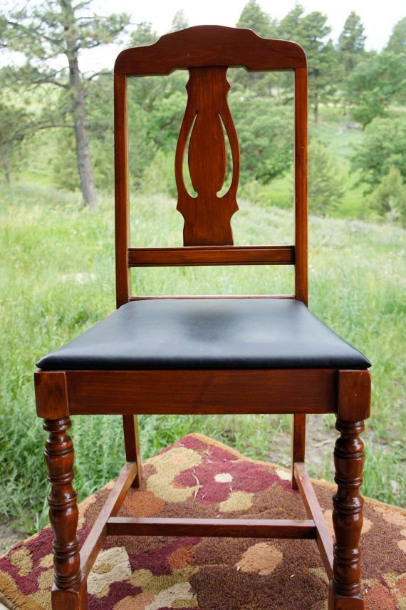 Wood Upholstered Dining Chair Decorative Back Black Vinyl