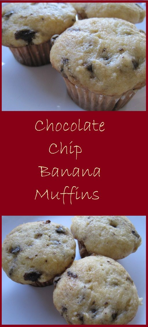 Chocolate Chip Banana Muffins--Simple to prepare and starting with a cake mix, these muffins make a great breakfast idea.