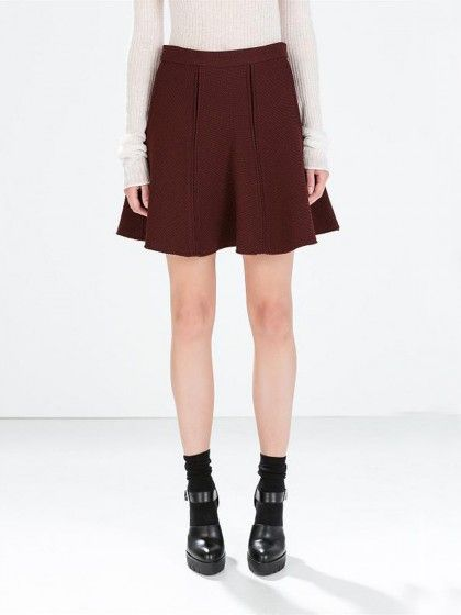 Wine Red High Waist Flare Skirt