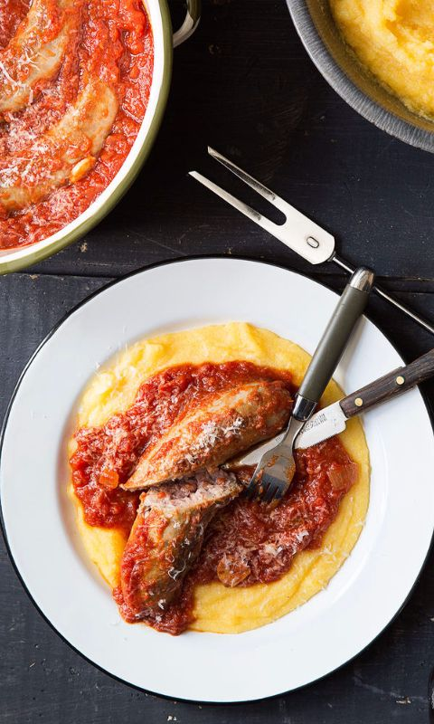 Three pillars of Italian cooking made better together: fennel sausage, zesty tomato sauce, and creamy polenta.