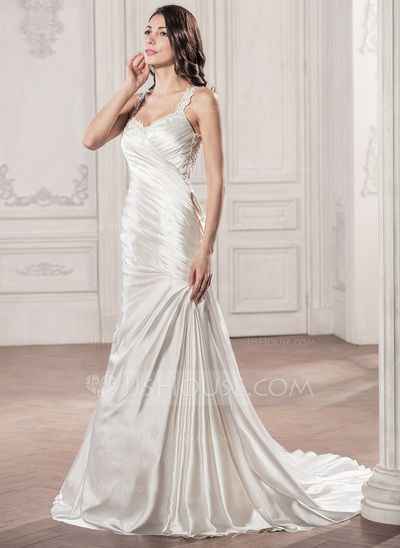 Trumpet/Mermaid Sweetheart Chapel Train Charmeuse Wedding Dress With Ruffle Beading Appliques Lace Sequins (002056958)