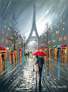 Canvas painting of couple by red plane | PETE RUMNEY FINE ART PARIS DOWNPOUR RED UMBRELLA EIFFEL TOWER COUPLE ...