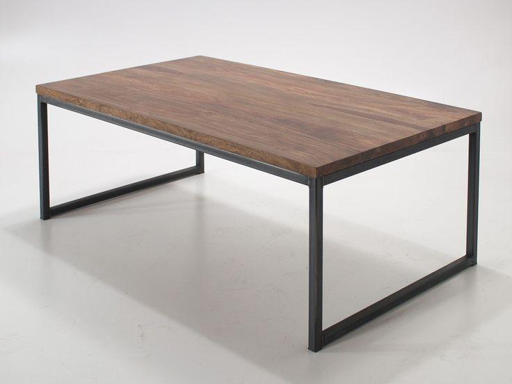Industrialny stolik kawowy z blatem z palisandru - Wymiary: 120x70x45 - 770zł - Stoliki Ławy - Meble - Sklep internetowy Guido