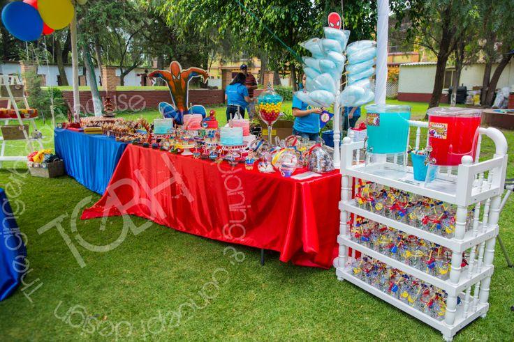 Spiderman birthday party dessert and candy bar drink - Decoraciones de exteriores ...