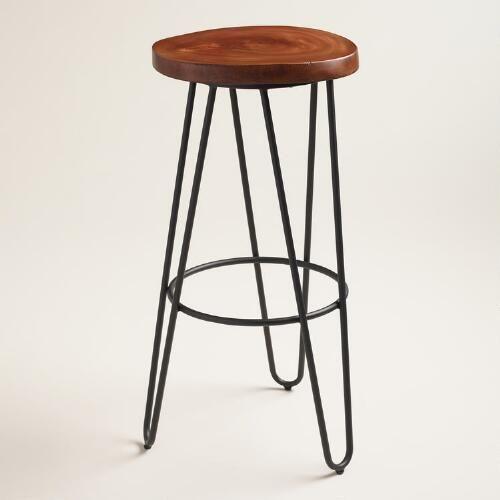 One of my favorite discoveries at WorldMarket.com: Wood and Black Metal Malvan Hairpin Barstool