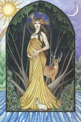 Anu (pronounced an-oo) is the Celtic Mother Goddess, Dawn Mother, and Goddess of death and the dead. Anu is the goddess of cattle, health, fertility, prosperity, and comfort. She sometimes formed a trinity with Badb and Macha as the flowering fertility aspect of the maiden. Anu is also called Ana, Annan, Danu, or Don, and later called St Anne. She is the wife of the sun god Belenos, and is the ancestor of all the gods. Anu watered the first oak tree, Bile, giving life to the earth.