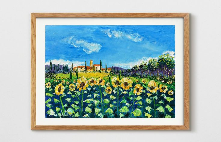 Tuscany sunflowers, Italy painting on canvas, oil painting ...