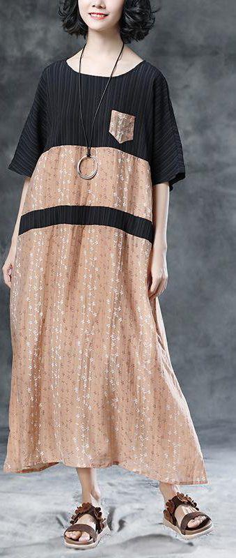 b603507220 stylish-long-cotton-linen-dresses -trendy-plus-size-Floral-Casual-Pockets-Summer-Short-Sleeve-Khaki-Dress