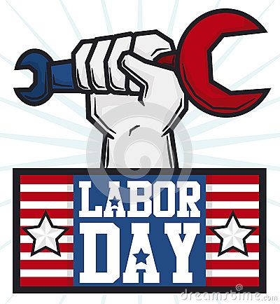 Cartoon design with worker hand holding a wrench to celebrate Labor Day and…