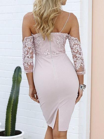 ff679bb458859 Pink Spaghetti Strap Lace Up Bodycon Lace Mini Dress