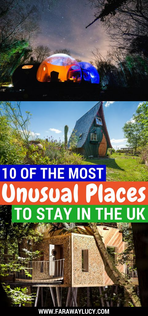 10 of the most unusual and unique places to stay in the UK including quirky glamping sites, treehouses, eco pods, safari lodges, shepherd's huts and converted double decker buses! Click through to read more...