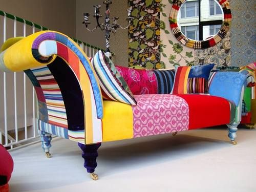 Chaise Longue Funky Painted Upholstered Furniture