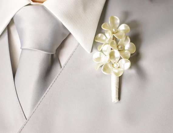 Boutonniere - Pearl Flowers - Button Hole - Wedding Accessory for Groom, Groomsmen, and Prom