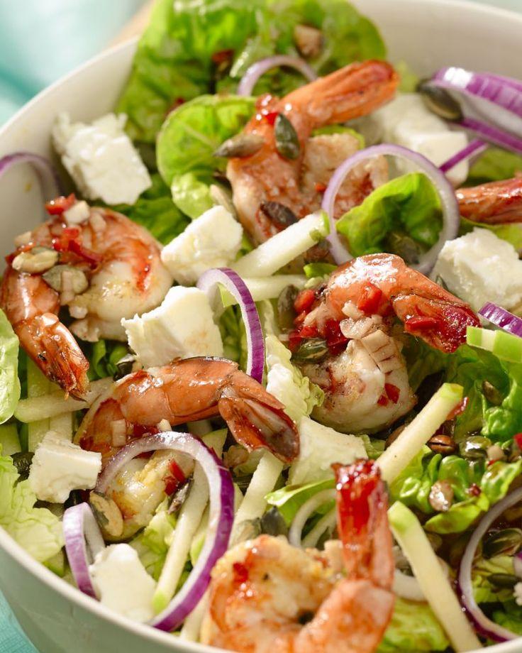 Salade met feta en scampi