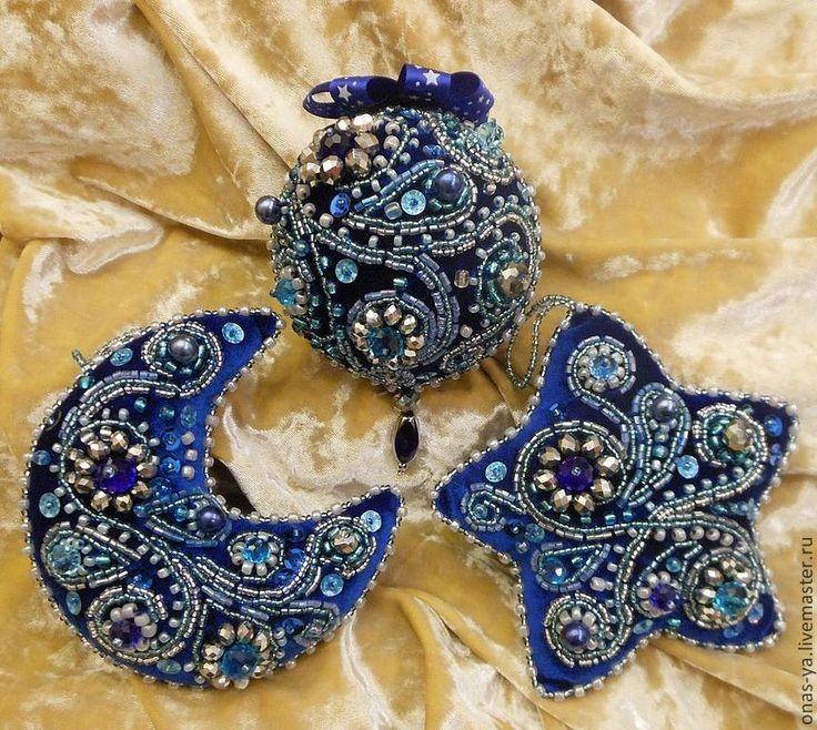 """Купить набор елочных украшений """"Новогодняя звездная ночь"""" - тёмно-синий, бархат, Новый Год"""