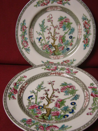 Coalport China England Floral Indian tree gray Green Smooth 2 Salad plate