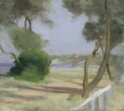 Beaumaris foreshore, 1926, Clarice Beckett, oil on canvas on paperboard, 45.5 x 51.0 cm, Art Gallery of NSW.