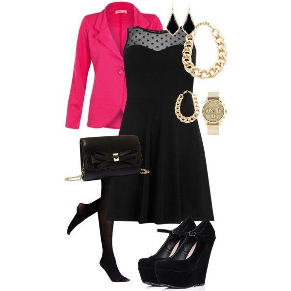 Black dress with spot mesh worn with pink blazer