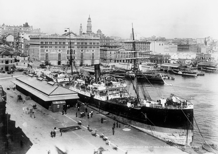 A bustling wharf and dock at Circular Quay circa 1900. How magnificent is the steamer! On the left is the Goldsbrough Mort & Co Ltd wool store and at the centre is Customs House on Alfred Street.