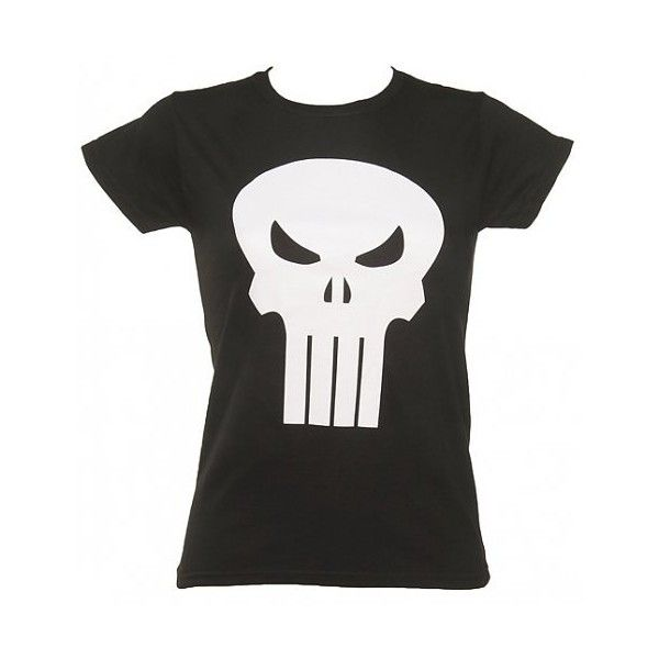 Ladies Black Punisher Marvel Skinny T-Shirt (16.045 HUF) ❤ liked on Polyvore featuring tops and t-shirts