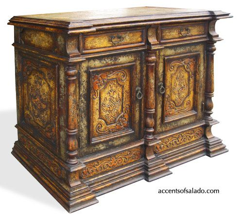 NEW - In flamboyant Tuscan style, the Estruscan Coast buffet is an exceptional hand painted furnishing. Elaborate hand carved panels and rich colo...