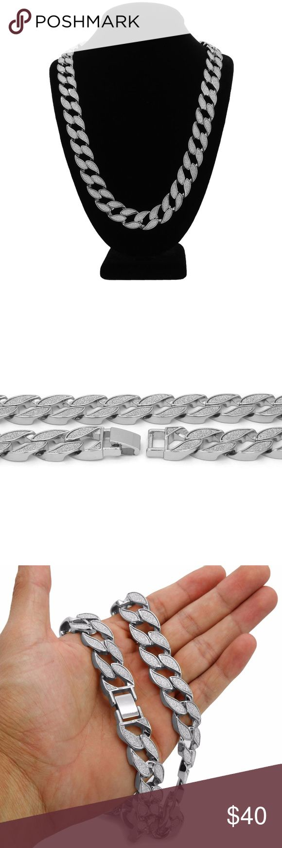 "Mens Silver Finish STARDUST SANDSTONE Hip Hop Miam Item: Stardust Sandstone Cuban Chain Necklace  Length: 30"" Inches  Width: 18mm  Type: Cuban Curb  Luxury Clasp Accessories Jewelry"