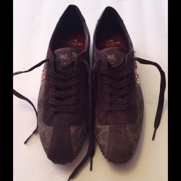 Coach Ivy Logo Tennis Sneakers Size 5.5 Medium Authentic Coach Ivy Logo Tennis Sneakers. IVY Signature .Black-Brk- Chestnut/ Multi shades of Brown.  Size 7.5 M. New without box.  No Trades No Holds  Coach Shoes Sneakers