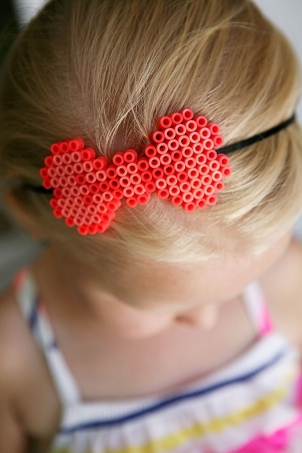 Perler Bead Headband - the kids LOVE to make stuff with Perler Beads.