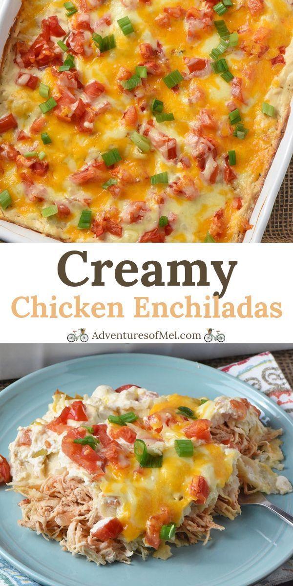 Delicious Recipe For The Best Chicken Enchiladas Made With Corn Tortillas And A Creamy Creamy Chicken Enchiladas New Chicken Recipes Chicken Enchilada Recipe