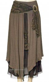 Pretty Angel Clothing Antique Belted Skirt In Coffee at Styles2you.com