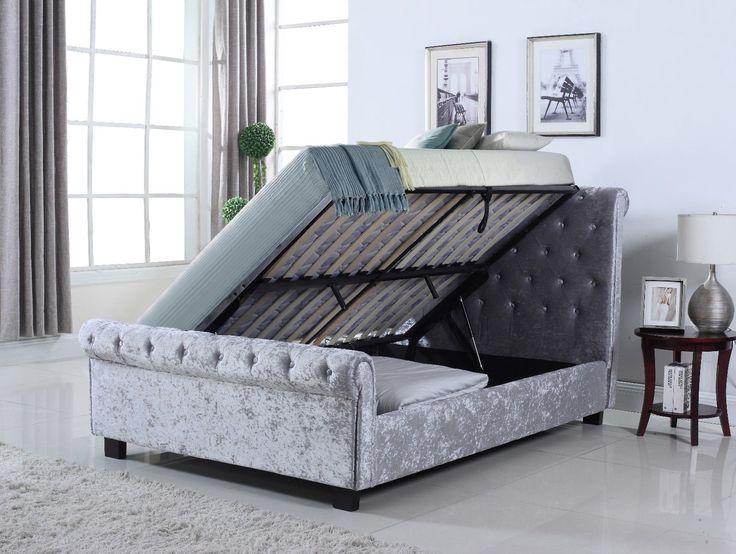 Whitford Crushed Velvet Side Ottoman Storage Bed - 4 6ft, 5ft - Mattress Options | eBay