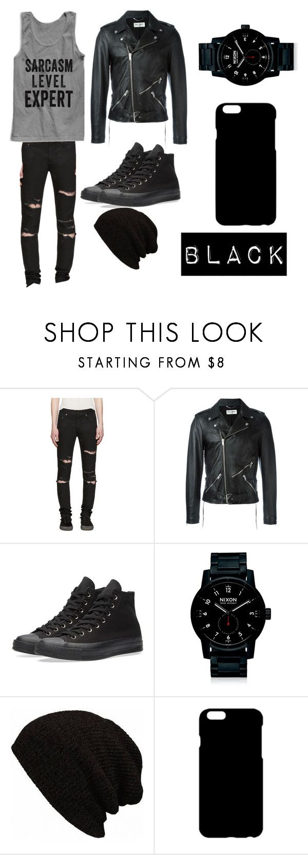"""Black with a hint of grey."" by totiodair19 ❤ liked on Polyvore featuring Yves Saint Laurent, Converse, Nixon, men's fashion and menswear"