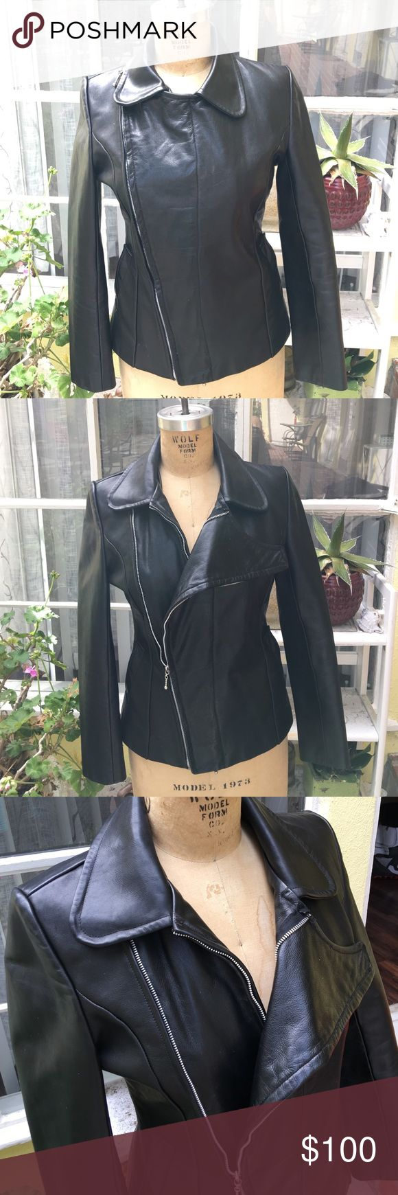 100% Self-designed leather jacket Designed it myself and had it made. Extremely unique, one of a kind. 100% leather. Asymmetrical zipper, double zipper. Almost brand new. Barely worn. Jackets & Coats Utility Jackets