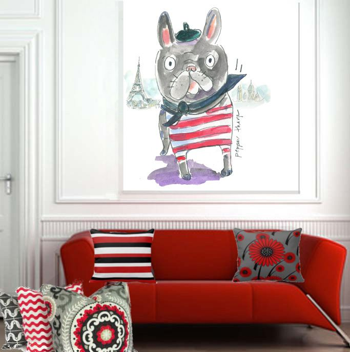 Pepper Tharp's painting, 'Mr. Bijoux' the French Bulldog, Is a perfect large format painting for Contemporary Living room, Transitional room, or  Fashion Retail space. My Giclee Fine Art Prints are available to order as stretched canvas or mural art art in custom sizes. Contact : peppert@visi.com