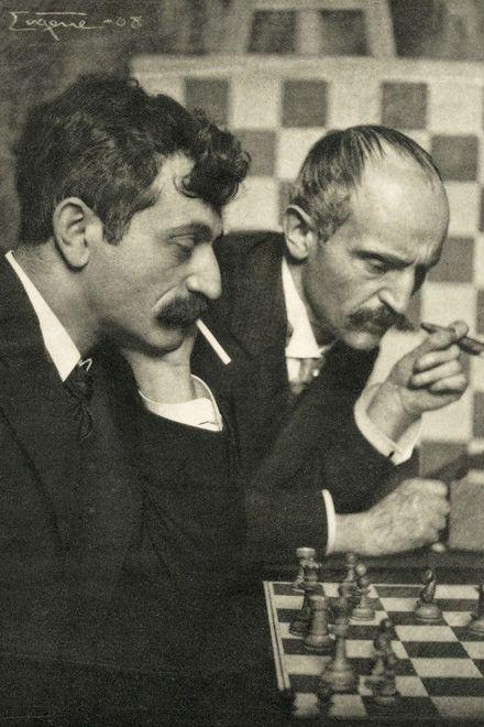 Schachspieler (Dr. E. Lasker und sein Bruder Dr. B. Lasker), Munich, 1908 -by Frank Eugene