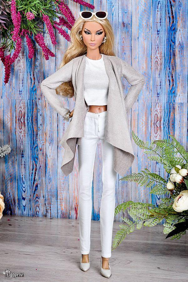 ELENPRIV light brown cardigan for Fashion Royalty doll FR:16 ITBE Sybarites