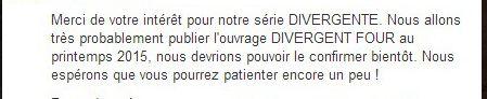 Edition Nathan, FOUR: A Divergent Collection serra sûrement traduit pour le printemps 2015! <3