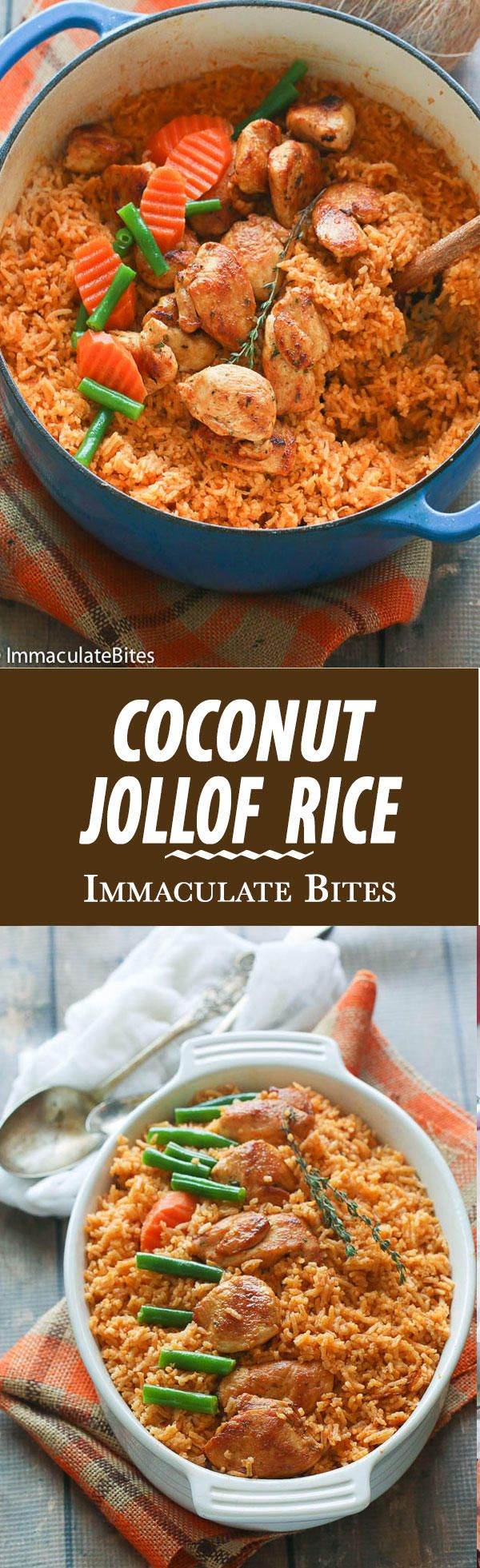 Coconut Jollof Rice - A Super Popular African Mea aromatic one pot  Chicken & Rice cooked slowing cooked with coconut milk . Easy, Flavorful and Delicious.
