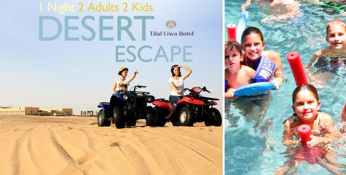 Embark on a family adventure in the desert with a 1 night stay at Tilal Liwa Hotel including Arabian high tea, a buffet breakfast, camel ride, quad biking and more. Prices start from AED 349 for 2 adults and 2 kids – 4 exciting packages available!