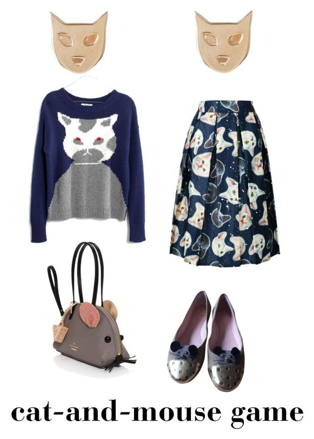 """Cat-and-mouse game"" by lilithowl on Polyvore featuring Kate Spade, Madewell, Karen Walker, cat and mouse"