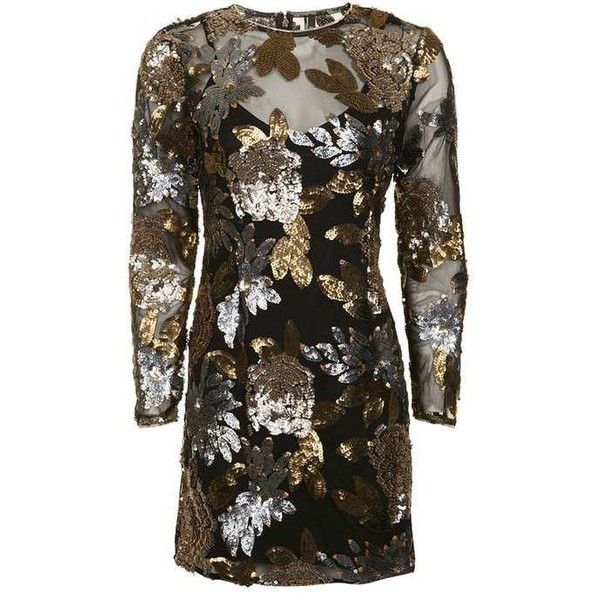 TopShop Petite Embellished Flower Mini Dress (£79) ❤ liked on Polyvore featuring dresses, long sleeve mini dress, brown dresses, brown long sleeve dress, petite party dresses and going out dresses