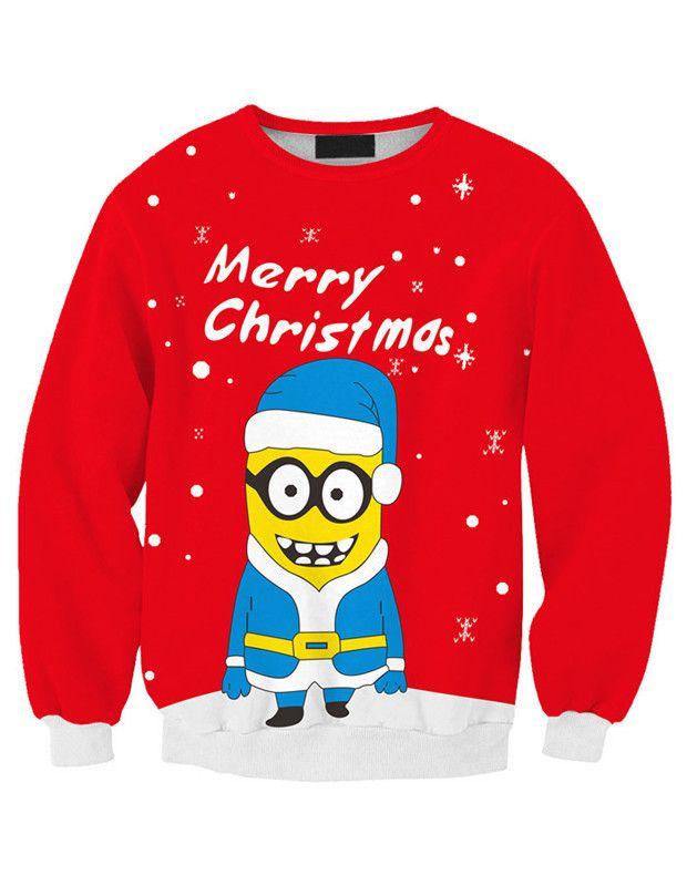 Cute Oversized Merry Christmas Minion Unique Hoodies Sweatshirt