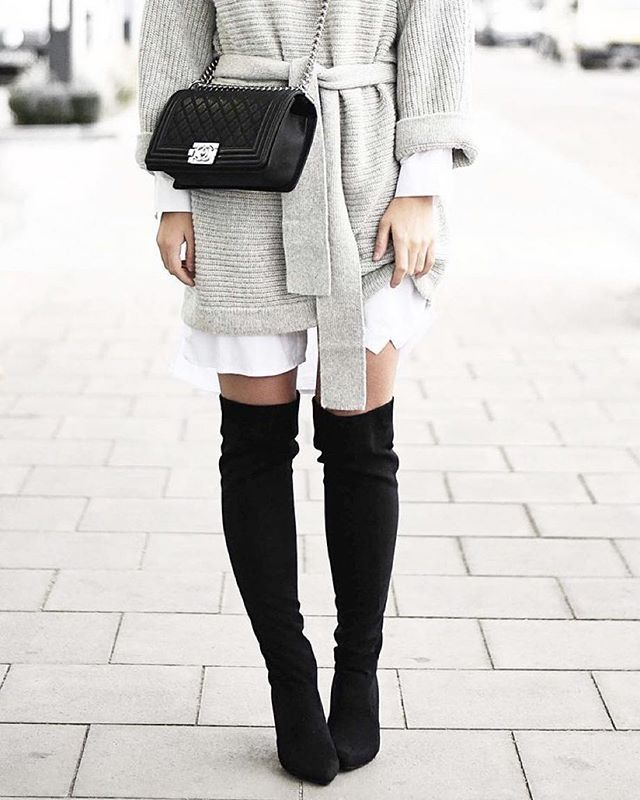 black the knee boots with a fabulous