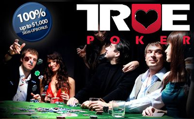 Although True Poker's $1,000 first deposit bonus is only earned at 20% cashback, unlike other poker bonus offers, it NEVER EXPIRES!