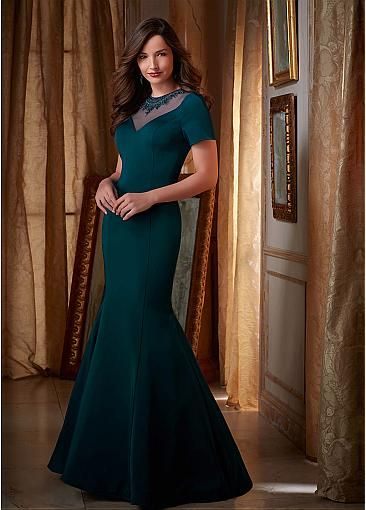 Chic Satin Jewel Neckline Mermaid Mother of The Bride Dresses With Beadings