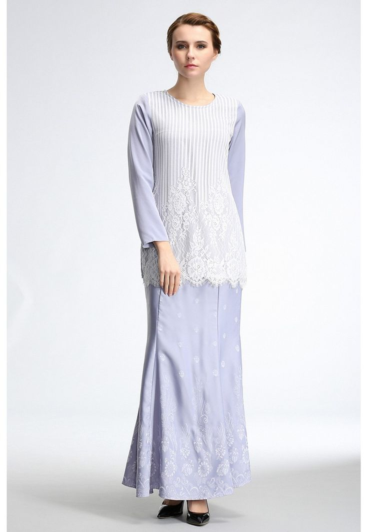 Graphic Floral Baju Kurung Moden with Lace Overlay_1