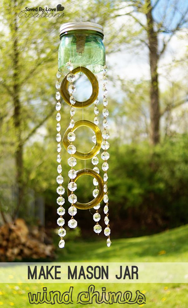 Green Mason Jar and Recycled Wine Bottle Wind Chimes