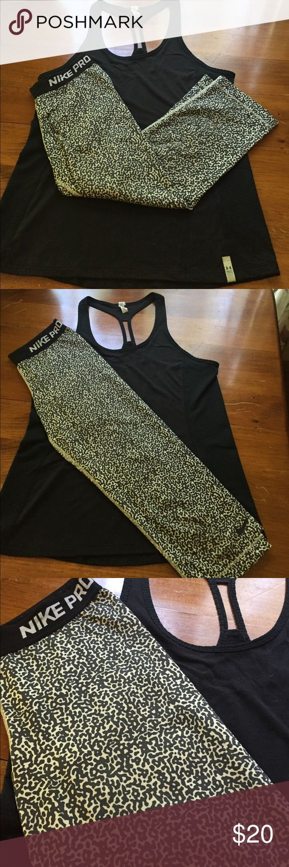 Nike Pro Workout Leggings Black and white leopard print Nike Pro workout capris. Used but good condition. The matching UnderArmour tank pictured is also available in my closet :) Nike Pants Track Pants & Joggers