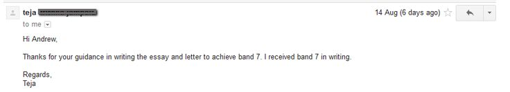 Teja received a BAND 7 in Writing! You too can reach your desired score when you enroll in the IELTS online course!