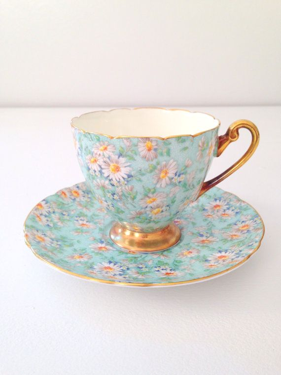 Reserved for Laura/Rare Antique Shelley English Fine Bone China Marguerite Pattern Ripon Shape Teacup and Saucer Tea Party - c. 1940-1966